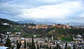Der Alhambra-Palast und das Generalife, Granada, Spanien Stockbild