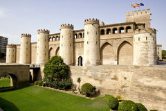 Der Aljaferia Palast in Zaragoza Stockbilder