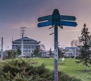 Der allgemeine Park und das Hauptgebäude von Politehnica-Universität von Bucharesi Lizenzfreies Stockbild