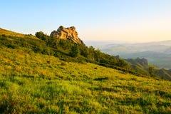 Der Alpenwiesesonnenuntergang Stockfotografie