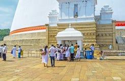 Der Altar bei großem Stupa Lizenzfreies Stockbild