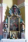 Der Altar des Heiligen Barbara in der Kirche von St Martin in Pisarovinska Jamnica, Kroatien Stockfotos