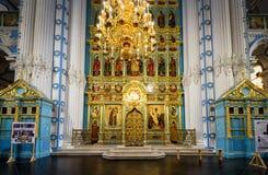 Der Altar und der Iconostasis in neuem Jerusalem-Kloster, Russland Lizenzfreie Stockbilder
