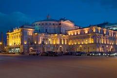 Der Altbau des Mariinsky-Theaters, Nacht im April St Petersburg Lizenzfreie Stockfotos
