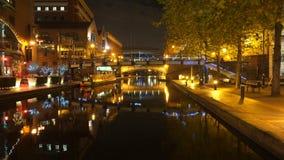 Der alte Birmingham-Kanal nachts Stockfotografie