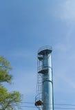 Der alte blaue Wasserturm Stockfoto