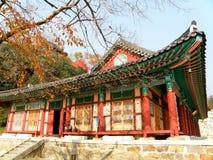 Der alte Buddhismustempel mit roter Spalte unter dem Herbstlaub Lizenzfreies Stockfoto