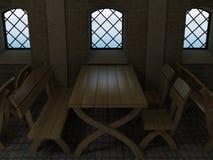 Der alte eichene Tisch Stockfoto