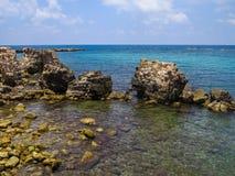 Der alte Hafen in Caesarea Stockbilder