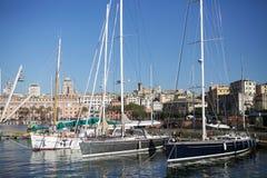 Der alte Hafen von Genua, Italien Stockbilder