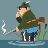 Der alte Jäger nach dem Schuss Stockbild