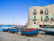 Der alte Kanal von Giovinazzo. Apulia. Stockfoto