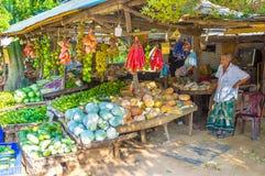 Der alte Kaufmann ist Straßenrandstall in Sri Lanka Stockbild