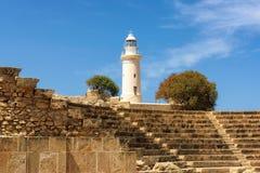 Der alte Leuchtturm in Paphos, Zypern Lizenzfreies Stockfoto