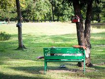 Der alte Mann mit Armbanduhr und dem Tragen eines weißen Cowboyhuts stand auf einem grünen Stuhl im Garten still Lizenzfreies Stockbild