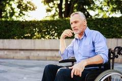 Der alte Mann sitzt in einem Rollstuhl im Park Stockfoto