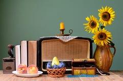 Der alte Radio, die Sonnenblume und die Bücher Lizenzfreies Stockfoto