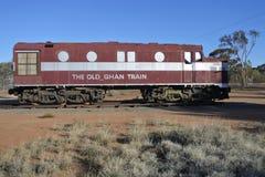 Der alte sich fortbewegende Zug Ghan in Alice Springs Northern Territory lizenzfreie stockbilder