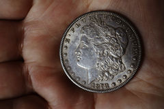 Der alte silberne amerikanische Dollar 1878 Stockbilder