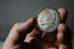 Der alte silberne amerikanische Dollar 1878 Stockfotos