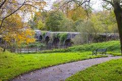 Der alte Stein baute Shaw-` s Brücke über dem Fluss Lagan nah an dem kleinen Mühldorf von Edenderry in Nordirland Stockfotografie