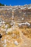 der alte Tempel und das Theater in den termessos Stockfoto