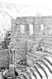 der alte Tempel und das Theater in termessos Antalya-Truthahnasien-Himmel Lizenzfreies Stockbild