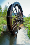 Der alte traditionelle Waterwheel in der Montierung Lu des Kinns Stockbild