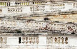Der alte Treppenhandlauf mit überwucherten Efeuspalten Lizenzfreies Stockfoto