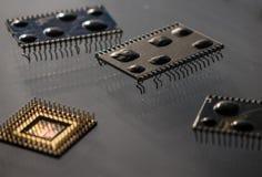 Der alte und Weinlesecomputer-chip, Abschluss oben Stockfotografie