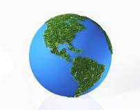 Der amerikanische Kontinent wird durch Gras und Blumen bedeckt lizenzfreie abbildung