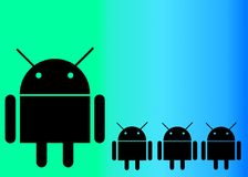 Der ANDROID und die Androids Stockbild