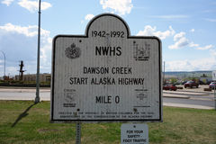 Der Anfang der Alaska-Landstraße bei Dawson Creek Lizenzfreie Stockbilder