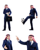 Der arabische Geschäftsmann mit Fußball Stockfotografie