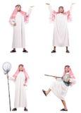Der arabische Mann mit dem anziehenden Netz lokalisiert auf Weiß Lizenzfreies Stockbild