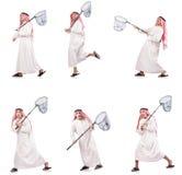 Der arabische Mann mit dem anziehenden Netz lokalisiert auf Weiß Stockbilder