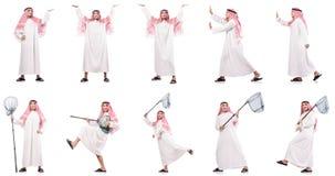 Der arabische Mann mit dem anziehenden Netz lokalisiert auf Weiß Stockfotos