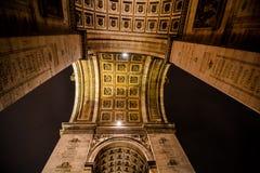 Der Arc de Triomphe nachts, Fotobild ein schöner Panoramablick der Paris-Großstadtbewohner-Stadt lizenzfreie stockfotos