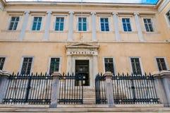 Der Arsakeions-Gebäudekomplex, eins der wichtigsten restlichen Gebäude der allgemeinen Architektur des 19. Jahrhunderts in Athen stockfotografie