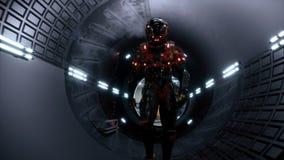 Der Astronaut überschreitet durch einen futuristischen Sciencefictionstunnel mit Funken und Rauche, die Innenansicht stock video footage