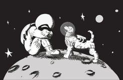 Der Astronautenhund steht Lizenzfreies Stockfoto