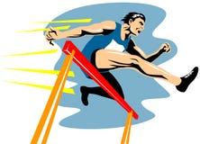 Der Athlet eine Hürde springend Stockfotos