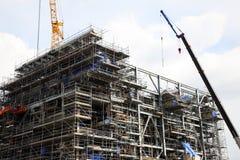 Der Aufbau der Bohrinsel Stockbild