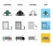 Der Ausrüstung, des Spinnens und anderer Netzikone der Maschine, in der Karikatur, Schwarzes, Entwurf, flache Art , Geräte, Inven Lizenzfreie Stockbilder