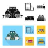 Der Ausrüstung, des Spinnens und anderer Netzikone der Maschine, in der schwarzen, flachen Art , Geräte, Inventar, Textilikonen i Lizenzfreie Stockbilder