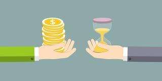 Der Austausch der Zeit auf dem Geld Stockfoto
