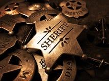 Der Ausweis Tin Star Law Enforcement des Sheriffs stockbild