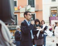 Der Bürgermeister eines katalanischen Dorfs in einem Protest stockfoto