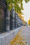 Der Bürgersteig gestreut mit gelben Blättern. Stockbilder