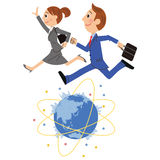 Der Büroangestellte, der auf der ganzen Welt läuft Lizenzfreie Stockfotos